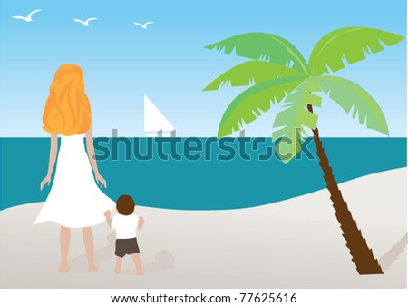 vector mother and child at the beach