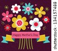 Vector Mothers Day card in bright colors, with vintage ribbon banner and retro style flowers. Also great for easter, thank you, birthday, social media, web banner. - stock photo