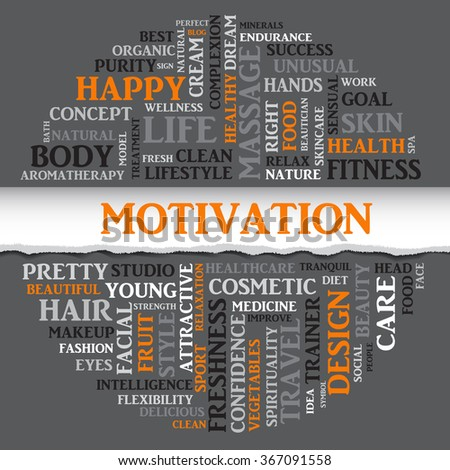 Vector MOTIVATION concept related words in tag round cloud isolated on gray background with different association sport and fitness terms. The effect of torn paper  - stock vector