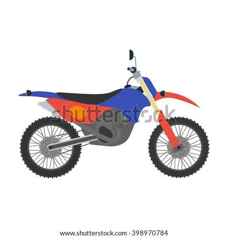 Vector motocross bike illustration. Bike isolated on white background. Cross bike, sport bike vector. Motorbike moto bike illustration. Motocross bike isolated vector - stock vector