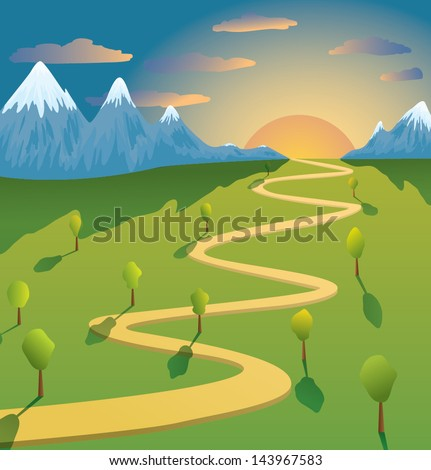 Image result for path in mountain cartoon funny
