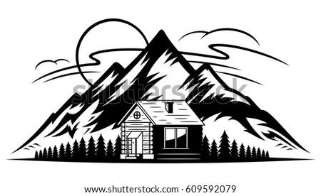 vector mountain landscape wooden cabin trees stock vector