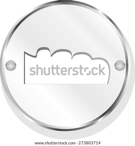 vector mountain on glossy web icon isolated on white background - stock vector