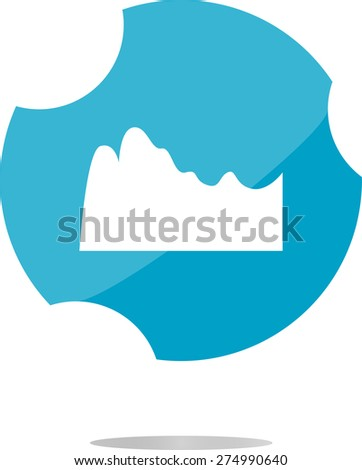 vector mountain on glossy web icon isolated on white background