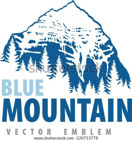 Vector mountains label emblem - stock vector