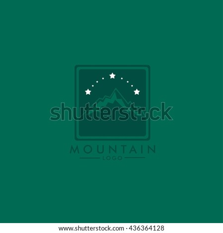 Vector Mountains logo illustration. Flat Style Design. Great for t-shirt