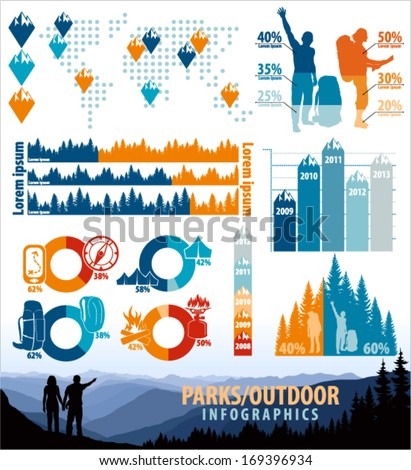 Vector Mountains Travel outdoor infographics with icons and elements - stock vector
