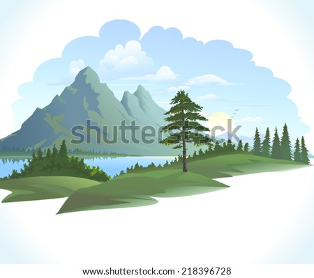 VECTOR MOUNTAINS WITH GREEN FIELDS