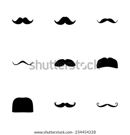 Vector moustaches icon set on white background