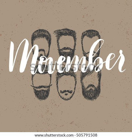 Vector Movember cancer awareness event poster, banner and card. Hand lettered phrase and mustache.