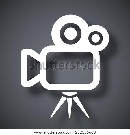 Vector movie camera icon - stock vector