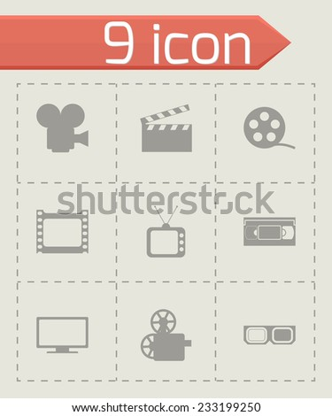 Vector movie icon set on grey background