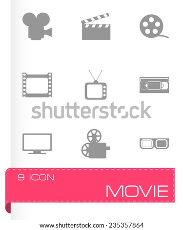 Vector movie icon set on grey background - stock vector