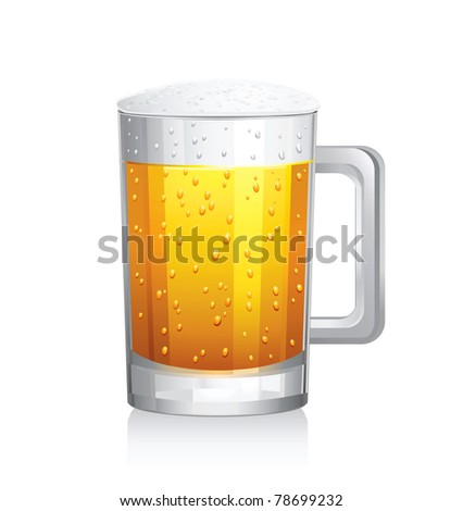 Vector mug of beer.Isolated on white background.