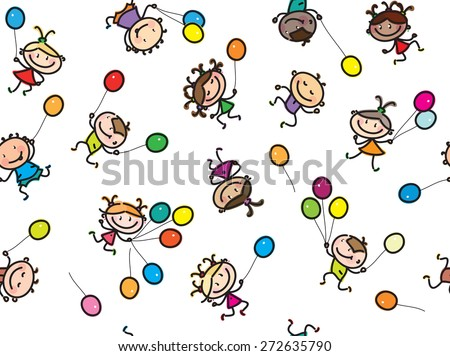 Vector  multi-ethnic kids with balloons, seamless pattern, isolated on white. - stock vector