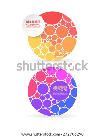 Vector Multicolor Flat Web Banner Template Set - stock vector