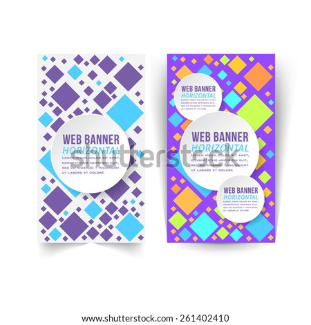 Vector Multicolor Flat Web Banner Template, Square Diamond Style Template - stock vector