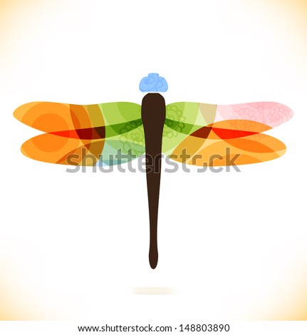 Vector multicolor isolated dragonfly. Beauty insect. Unusual element for gifts, cards, invitations - stock vector