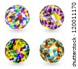 Vector multicolor sphere set. Abstract illustration. - stock vector