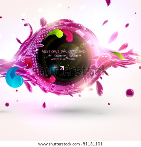 vector multicolor splat and a frame - stock vector