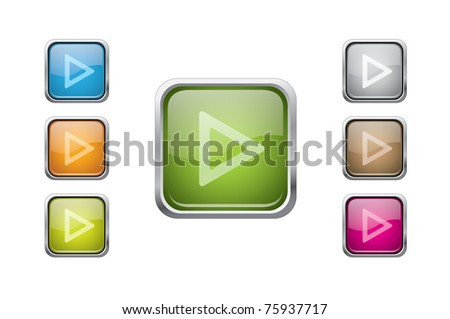 vector multicolored glossy rounded square buttons with play sign - stock vector