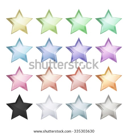 Vector multicolored glossy stars that can be used for the ranking - stock vector