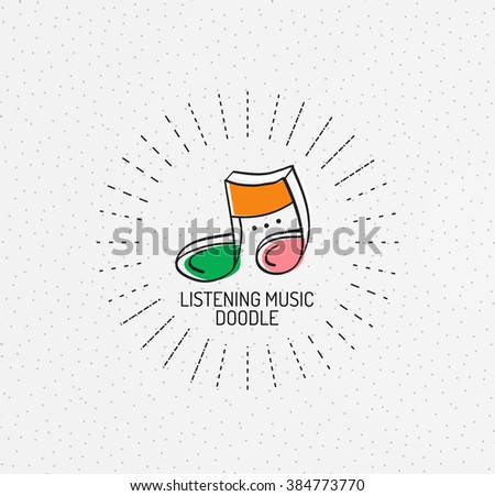 Vector multicolored hand-drawn doodles, icon, stamp - stock vector