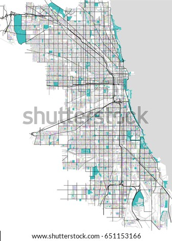 Vector Multicolored Map City Chicago Usa Stock Vector 651153166