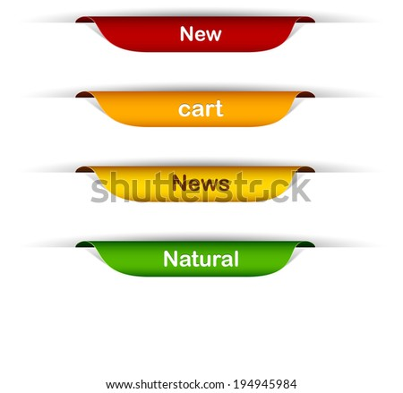 Vector multicolored paper labels with text.   - stock vector