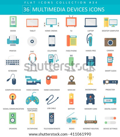 Vector Multimedia devices flat icon set. Elegant style design of portable devices icons. - stock vector