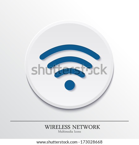 Vector multimedia icons on button, wireless network. - stock vector