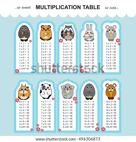 Vector Multiplication Table Printable Bookmarks Stickers Stock ...