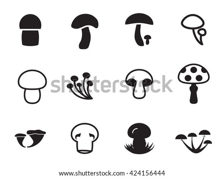 Vector mushroom icon, logo, mushroom icon template, pictogram set. Modern mushroom icon, emblem for eco shop, market, restaurant, internet, design. Mushroom icon eco, mushroom icon web, mushroom icon. - stock vector