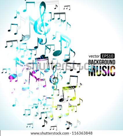Vector Music Background Note Design. - stock vector