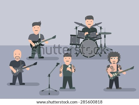 Vector music band flat graphic - stock vector