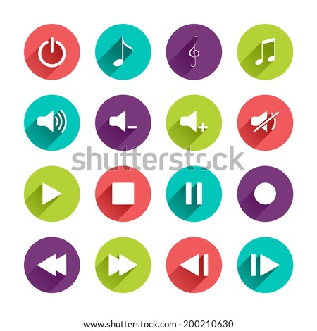 Vector Music Control Panel Icons Set in Flat Design with Long Shadows on circle buttons - stock vector