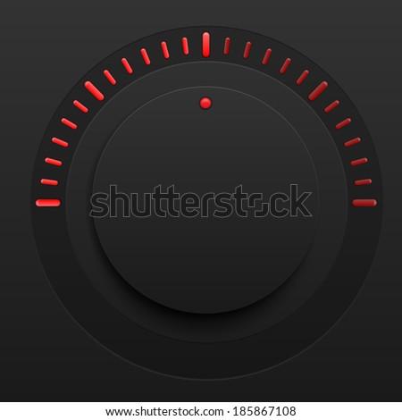 Vector music control volume knob with plastic - stock vector