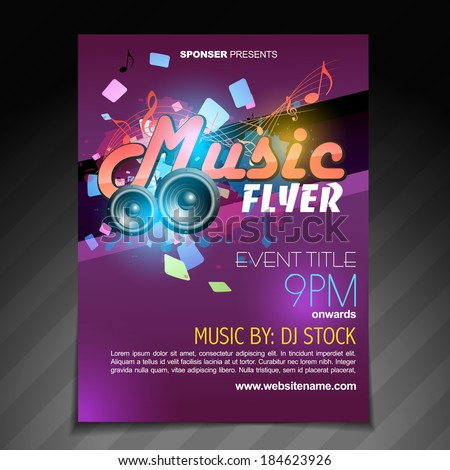 Vector Music Flyer Brochure Poster Template Stock Vector