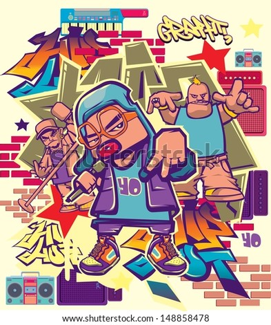vector music hip hop and rock character - stock vector