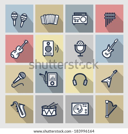vector music icons set - stock vector