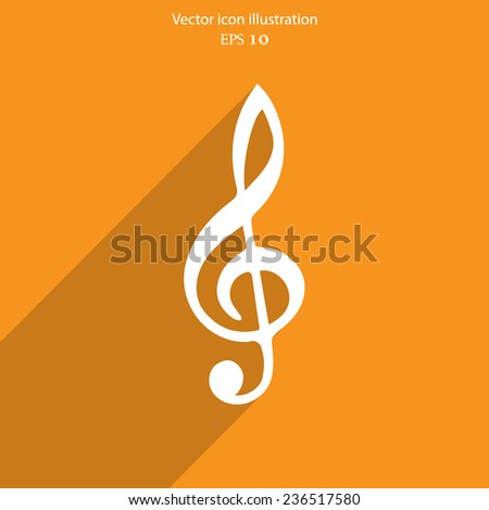 Vector music key web icon. Eps 10. - stock vector