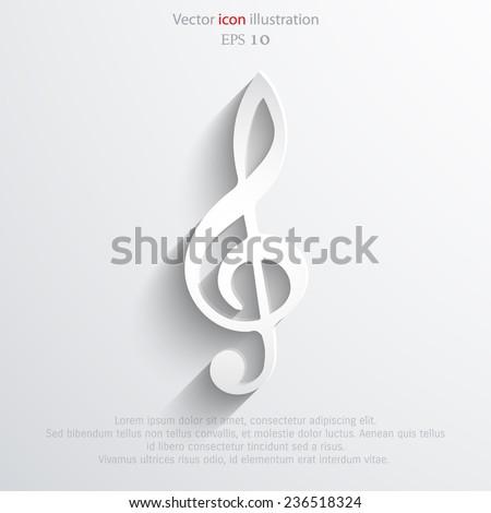 Vector music key web icon. Eps 10. - stock vector