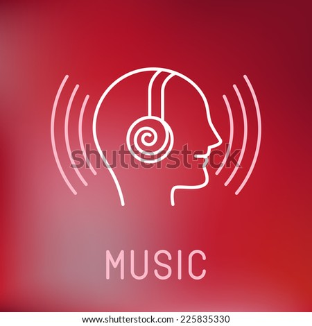 Vector music logo in outline style - head with headphones  - stock vector