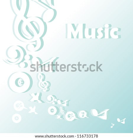 vector music note background design with note and birds icons - stock vector