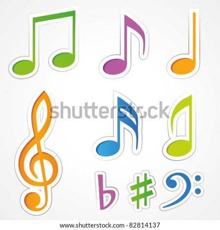 Vector music note icon on sticker set. - stock vector