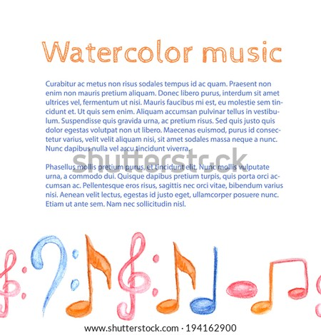 Vector music note watercolor background design  - stock vector