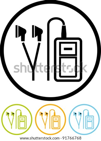 Vector music player icon - stock vector