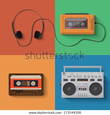 Vector music player icon set - stock vector