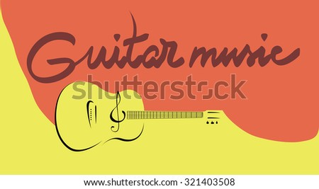 Vector music poster - acoustic guitar instrument