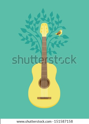 Vector music poster in flat retro style - guitar and bird on tree - stock vector